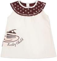 Купить Майка для девочки Lucky Child Летнее кафе, цвет: бежевый, коричневый. 23-25. Размер 62/68, Одежда для новорожденных