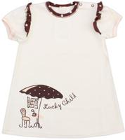 Купить Футболка для девочки Lucky Child Летнее кафе, цвет: бежевый, коричневый. 23-36. Размер 62/68, 2-3 месяца, Одежда для новорожденных