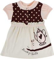 Купить Платье для девочки Lucky Child Летнее кафе, цвет: бежевый, коричневый. 23-62. Размер 68/74, Одежда для новорожденных