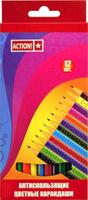 Купить Action! Набор цветных карандашей антискользящих 12 цветов, Карандаши