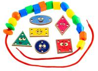 Купить Развивающие деревянные игрушки Игра-шнуровка Веселые фигуры Эмоции
