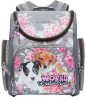 Купить Grizzly Ранец школьный World Little Girls цвет серый розовый, Ранцы и рюкзаки