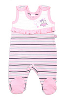 Купить Ползунки для девочки Cherubino, цвет: светло-розовый, серый. CAN 9408. Размер 80, Одежда для новорожденных