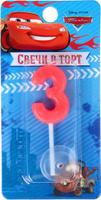Купить Disney Свеча для торта Тачки С днем рождения Цифра 3, Сервировка праздничного стола
