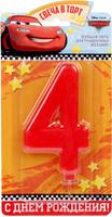 Купить Disney Свеча для торта Тачки С днем рождения Цифра 4 1689425, Сервировка праздничного стола