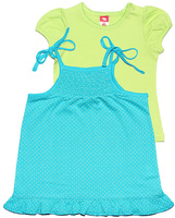 Купить Комплект для девочки Cherubino: футболка, сарафан, цвет: бирюзовый. CSB 9549 (117). Размер 80, Одежда для новорожденных