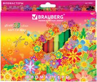Купить Brauberg Набор фломастеров Blooming flowers 18 цветов, Фломастеры