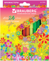 Купить Brauberg Набор фломастеров Blooming flowers 24 цвета, Фломастеры