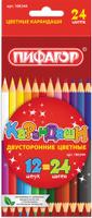 Купить Пифагор Набор цветных двусторонних карандашей 12 шт, Карандаши