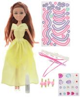 Купить Funville Игровой набор с куклой Sparkle Girlz с аксессуарами для украшения платья цвет желтый, Куклы и аксессуары