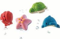 Купить Plan Toys Набор игрушек для ванной Морская жизнь 4 шт, Первые игрушки
