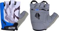 Купить Перчатки велосипедные Stinger , летние, быстросъемные, с защитной прокладкой, цвет: синий, серый. Размер XL, Велоперчатки