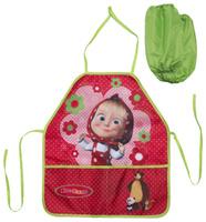 Купить Маша и Медведь Фартук детский с нарукавниками цвет красный зеленый, Аксессуары для труда