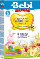 Купить Bebi Премиум каша 4 злака с вишней и бананом молочная, с 12 месяцев, 200 г, Детское питание