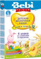 Купить Bebi Премиум каша 4 злака со сливками и персиком молочная, с 12 месяцев, 200 г, Детское питание