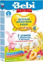 Купить Bebi Премиум каша 5 злаков с абрикосом и малиной молочная, с 6 месяцев, 200г, Детское питание