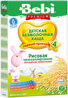 Купить Bebi Премиум каша рисовая низкоаллергенная с пребиотиками, с 4 месяцев, 200 г, Детское питание