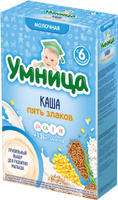Купить Умница каша пять злаков молочная, с 6 месяцев, 200 г, Детское питание