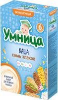 Купить Умница каша Семь злаков безмолочная каша, с 6 месяцев, 200 г, Детское питание