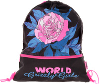 Купить Grizzly Мешок для сменной обуви World Grizzly Girls цвет черный розовый, Ранцы и рюкзаки