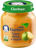 Купить Gerber пюре яблоко и груша, 130 г, Пюре