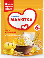 Купить Малютка каша молочная мультизлаковая с витаминами и минералами, с 6 месяцев, 220 г, Детское питание