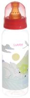 Купить Lubby Бутылочка для кормления с латексной соской Веселые животные от 0 месяцев цвет коралловый 250 мл, Бутылочки