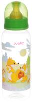 Купить Lubby Бутылочка для кормления с латексной соской Веселые животные от 0 месяцев цвет светло-зеленый 250 мл, Бутылочки