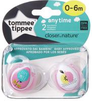 Купить Tommee Tippee Пустышка AnyTime от 0 до 6 месяцев цвет розовый 2 шт, Пустышки