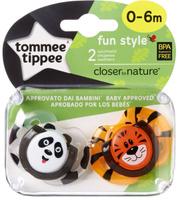 Купить Tommee Tippee Пустышка Fun Style Веселые животные Панда Тигренок от 0 до 6 месяцев 2 шт, Пустышки