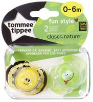 Купить Tommee Tippee Пустышка Fun Style Веселые животные Пчелка Лягушонок от 0 до 6 месяцев 2 шт, Пустышки
