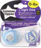 Купить Tommee Tippee Пустышка ночная Веселые животные от 0 до 6 месяцев цвет голубой 2 шт, Пустышки