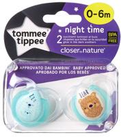 Купить Tommee Tippee Пустышка ночная Веселые животные от 0 до 6 месяцев цвет бирюзовый 2 шт, Пустышки