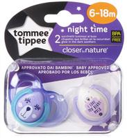 Купить Tommee Tippee Пустышка ночная Веселые животные от 6 до 18 месяцев цвет сиреневый зеленый 2 шт, Пустышки