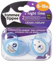 Купить Tommee Tippee Пустышка ночная Веселые животные от 6 до 18 месяцев цвет голубой 2 шт, Пустышки