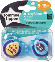 Купить Tommee Tippee Пустышка AnyTime от 6 до 18 месяцев цвет голубой 2 шт, Пустышки