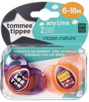 Купить Tommee Tippee Пустышка AnyTime от 6 до 18 месяцев цвет оранжевый 2 шт, Пустышки