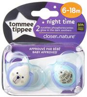 Купить Tommee Tippee Пустышка ночная Веселые животные от 6 до 18 месяцев цвет фиолетовый 2 шт, Пустышки