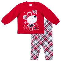 Купить Комплект одежды для девочки PlayToday: футболка с длинным рукавом, леггинсы, цвет: красный, серый, белый. 378807. Размер 56, Одежда для новорожденных