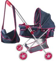 Купить 1Toy Коляска-люлька для куклы Красотка-Джинс цвет серый Т10386, Куклы и аксессуары