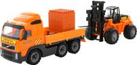 Купить Полесье Грузовик бортовой Volvo + автокар + конструктор Супер-Микс в цвет оранжевый серый, Машинки