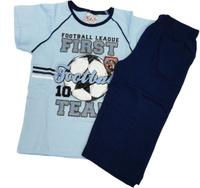 Купить Комплект домашний для мальчика Vienetta's Secret Футбол: капри, футболка, цвет: голубой. 9060059. Размер 128, 8 лет, Одежда для мальчиков