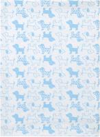 Купить Чудесные одежки Пеленка текстильная Собачка цвет белый голубой 120 х 90 см, Подгузники и пеленки