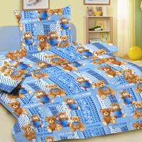 Купить Комплект детского постельного белья Letto Мишки , 1, 5 спальный, наволочка 50 x 70 см, цвет: голубой, Letto Home Textile, Постельное белье