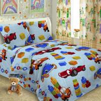 Купить Комплект детского постельного белья Letto Игрушки , 1, 5 спальный, наволочка 50 x 70 см, цвет: голубой, Letto Home Textile, Постельное белье