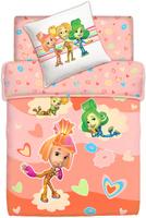 Купить Комплект белья Фиксики Девочки , 1, 5-спальный, наволочки 70x70, цвет: оранжевый, Постельное белье