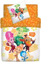 Купить Комплект белья Фиксики Семья , 1, 5-спальный, наволочки 70x70, цвет: оранжевый, Постельное белье