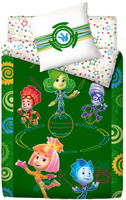 Купить Комплект белья Фиксики Цирк , 1, 5-спальный, наволочки 70x70, цвет: зеленый, Постельное белье