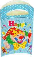 Купить Страна Карнавалия Пакет подарочный Клоун со свечой цвет голубой 14 x 24 см 6 шт 1652851, Подарочная упаковка