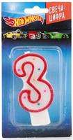 Купить Веселый праздник Свеча для торта Hot Wheels Цифра 3, Сервировка праздничного стола